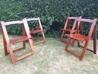 Four folding chairs