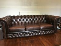 Brown Leather Chesterfield 3 Seater