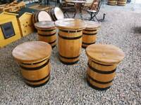 Oak barrel garden furniture stool & table set