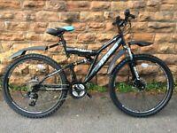 NEW Boss Stealth 26″ DISC Brake Mens Full Suspension Mountain Bike - 21 speed - RRP £275