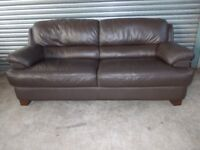 Brown Leather 3-seater Sofa (Suite) with matching Armchair