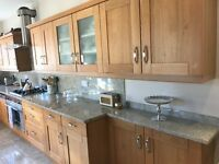 OAK FITTED KITCHEN FOR SALE * MARBLE WORKTOP AND APPLIANCES INCLUDED