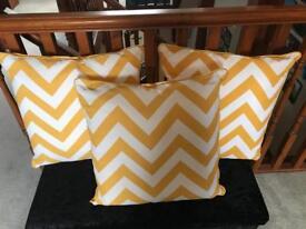 Ochre / white cushions x 3
