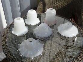 Vintage and new glass lamp shades