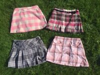 NEW SET 4X BUNDLE WOMENS LADIES GIRLS SHORT KILT WINTER SKIRT MINI SIZE 8 LINED TARTAN FREE DELIVERY