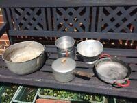 Joblot of vintage aluminium pots / possible plant pots