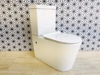 Round Modern Close Coupled Toilet WC With Ultra Slim Soft Close Seat RRP £295
