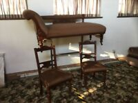 Edwardian (around 1910) chaise and two matching chairs