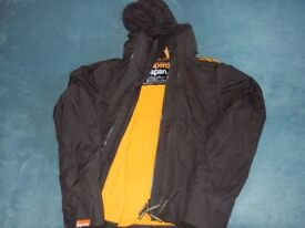 Superdry Windcheater Jacket pop zip hooded size small, black and yellow.