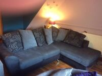 Charcoal grey scatter-back corner sofa for sale - Used but good condition