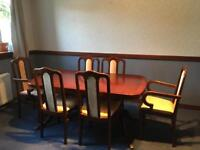 Mahogany extendable dining table, 6 chairs and matching dresser