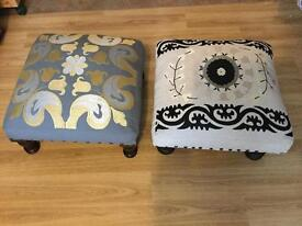 Embroidered footstools New