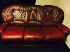 3 seater leather sofa with 2 armchairs good condition!! £40 ONO