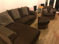3 seater and large cuddle chair with footstool