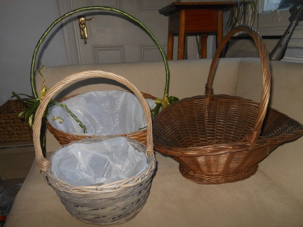 3 Nice Different Long Handled Wicker Baskets Okay As Is Great Upcycling