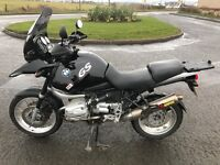 BMW r1150 gs abs model panniers and top box adj touring screen akrapovic exhaust and y piece