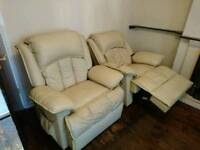 2 cream faux leather electric recliners with massage