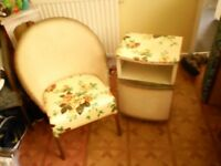 vintage wicker chair and bedside cabinet