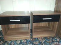 2 Black Door Wood Bed side Cabinets/Table - DELIVERY AVAILABLE