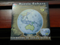 540 PIECE 3D PUZZLE JIGSAW GLOBE SPHERE on STAND in ORIGINAL BOX, DIAMETER 9 INCHES, BUILT ONCE