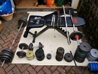 Weights cast iron 3 benches bars job lot