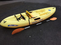 Big Yak by Ocean Kayak Sit-On with paddle and backrest. Great fun but stable too.