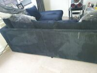 Black Corduroy Right side Corner Sofa