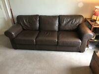 three seater Ikea brown sofa