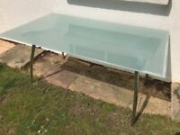 Opaque Plated Glass Kitchen/Dining Table With Chrome Legs £10.00