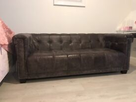 DFS leather sofa set, 2 three seater and one seater
