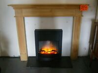 Dimplex Clement Electric Inset Fire - 2kW with Solid Wooden Fire surround and Hearth
