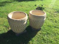 Concrete garden pots x 3