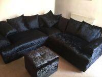 New Black Chicago Crushed Velvet Left and Right Hand Facing 2+3 Seater Corner Sofa Set