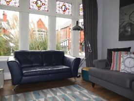 Navy Blue Leather 2 Seater Sofa & Storage Footstool