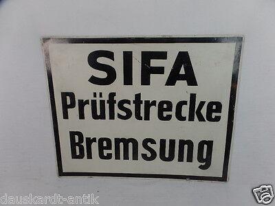 Sifa Prüfstrecke Bremsung Deutsche Reichsbahn schwarz weiss Schild Metall