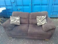 Superb Chocolate Brown Plush Fabric 3+2 Seater Sofas With Soft Cushions ABSOLUTELY FANTASTIC £250.00