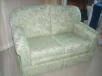 PLUMBS UPHOLSTERED 2 SEAT SETTEE AND LIDDED POUFFE IN A1 CONDITION CAN DELIVER