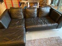 Faux Brown Leather Corner Sofa