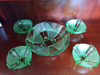Vintage green glass bowl and side bowls