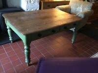Lovely old farmhouse table and 4 school chairs