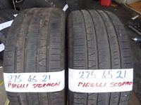 matching pair of 275 45 21 pirelli scorpions £100 pair sup & fittd(LOADS MORE AV 7-DAYS)