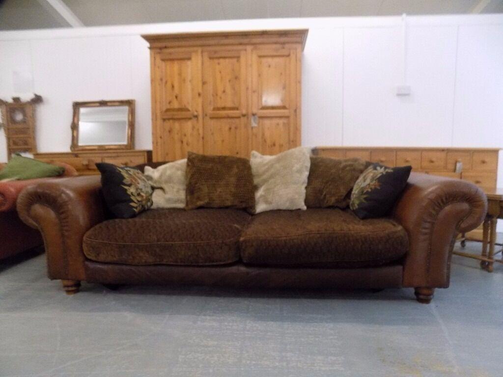 Large Tetrad Degas Grand Brown Leather Fabric Sofa