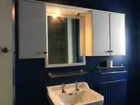 Bathroom sink, mirror and cabinets