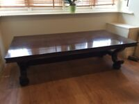 Large, solid antique dark wood coffee table
