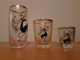 22 carat gold ornate decorated glasses - deer print - gold rim