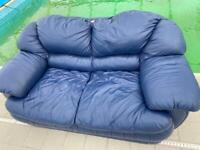 Chunky heavy leather two seater sofa