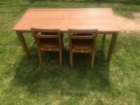 Vintage school desk and two chairs