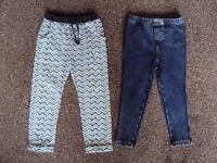 Girls Next trousers and Mantaray jeggings Age 2-3 years