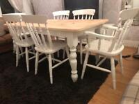 5 1/2ft Shabby Chic Farmhouse Pine Table and 6 Lovely Chairs
