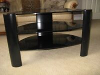 Black glass TV Table with Three Shelves